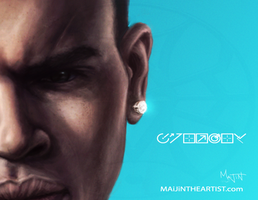 Chris Brown Portrait | PREVIEW (WIP) by MAiJiNTHEARTIST