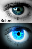 Before and after Blue Lightning eye by lupie1324