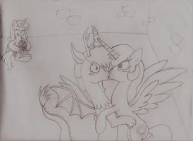 Discord and Celestia accidental kiss by Dalilastar