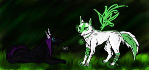Contest entry: Glowing in the dark forest by Crystal-WolfDarkness