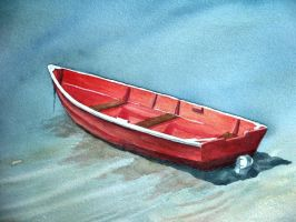 Red Boat by waughtercolors