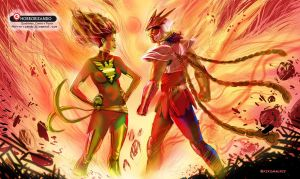 Jean Grey Vs Ikki de Fenix by kikomauriz