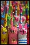 Wooden Cats by c-lue