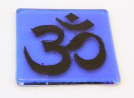 Fused Glass Om Coaster by ConnemaraBlue