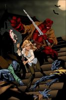 Buffy and Hellboy color battle by carol-colors