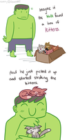 Avengers: Hulk and Kittens by ecokitty
