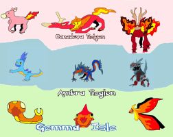 Fakemon Fire Starters by Steamland