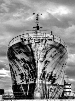 Rust Boat BW by Visionary-Images