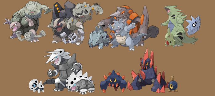 Pokemon: 3-Stage Families - Rock Types by quintonshark8713