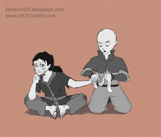 Tenzin And Lin As Kids - Bandaging by Bonez1925
