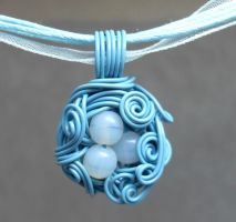A Nest Adorned Necklace- Blue by sojourncuriosities