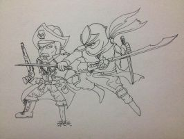 PIRATE VS NINJA by jorderhuh