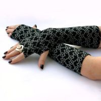 Elegant Black and White , Long Fingerless Gloves by WearMeUp