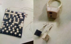 Keyboard bag, earings and ring by hannarb