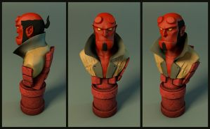 Hellboy bust 1 by Entropician