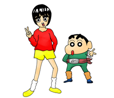 rock lee and shin chan by Speggies