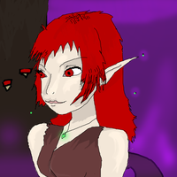 red elf girl smudged by Saira-Dragon