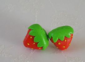 Strawberry studs by PORGEcreations