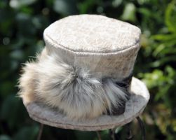 Silver Alligator Print Fabric Mini Top Hat by spaceraptor