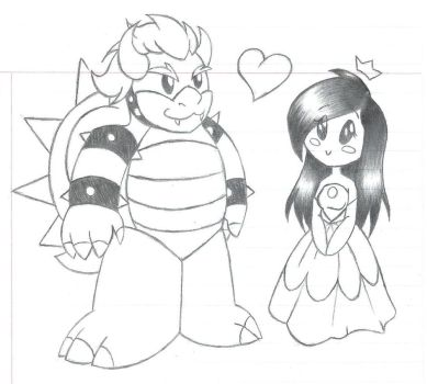 Chibi Bowser and Gracie (me) by MileenaKoopa