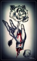 bleeding hand with rose tattoo flash by MWeiss-Art