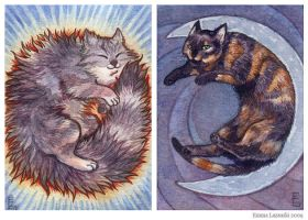 ACEO pair - Sun and Moon cats by emla