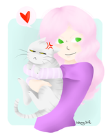 Rose and a cat by Kehmy
