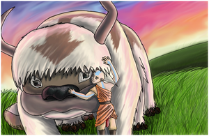 Sunset: Aang and Appa by IsabelStar