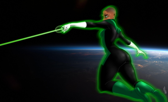 Female Green Lantern in Space by reecesearch