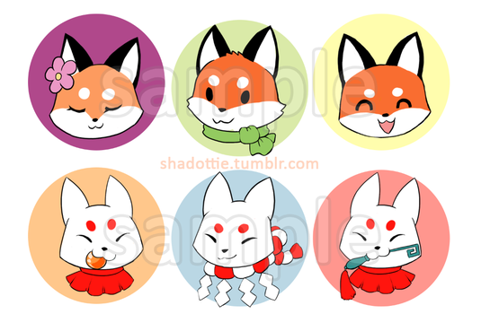 Fox Buttons! by Shadottie
