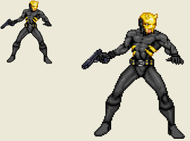 Sprite Work - Pulp Character Idea: The Golden Mask by SXGodzilla