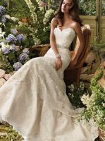Lace Strapless Sweetheart Wedding Dress by foxgowns