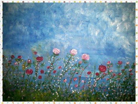 sky pink rose,oil on canvas,40x50 by irmaGallerys