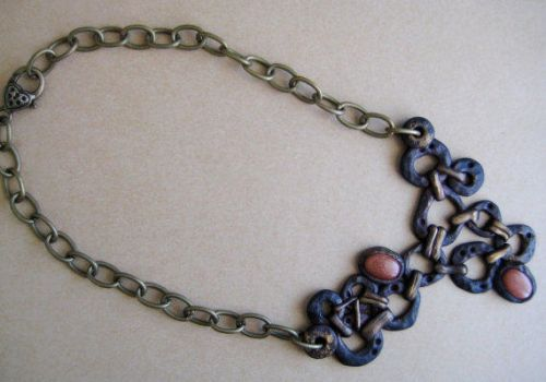 Steampunk Goldstone Linked Chain Statement Necklac by RoyalKitness