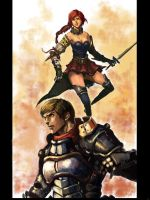 Guy and a girl warrior by longai