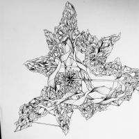 Crystallised, A3 Ink drawing by shenj010