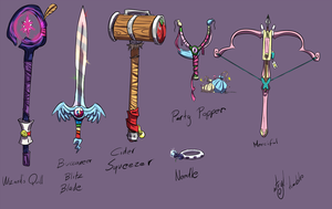 Mane Six Weapons by atryl