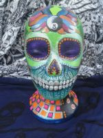 hand painted candy skull on mannequin by cruellendejagger