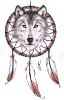 Wolf Dreamcatcher II tattoo design by RozThompsonArt