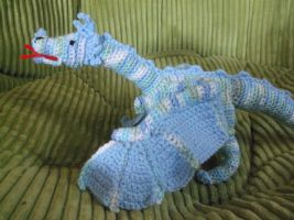 Crochet Blue Dragon with Posable Wings by ShadowOrder7