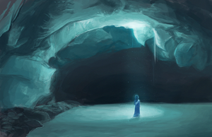 Lady in the snow cave by nightfall16