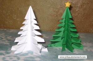 3D Origami Christmas Trees by jchau