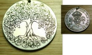 Hand Engraved Tree Of Life Silver Florin Coin by shaun750