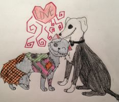 Jack and Sally cat and dog by Brookie-Pookie