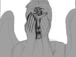 Weeping Angel In Progress by selftaughtartist1