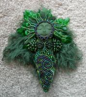 Leafy Beaded Goddess Doll by jardan