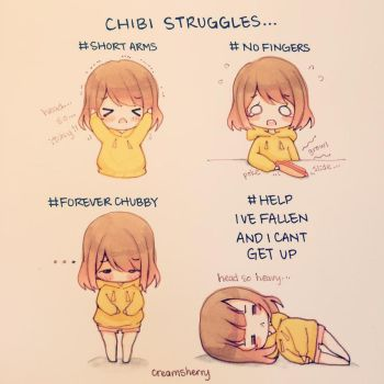 Chibi Struggles by creamsherry