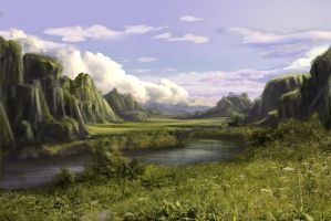 Speed painting - Green hills by CassiopeiaArt