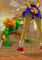 Sakura Vs Blanka by StraightEdge1977