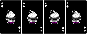 Ace Deck 57: Cupcake+Black+White by Galadnilien